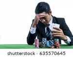 the young gambler used a hand...   Shutterstock . vector #635570645