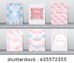 set of birthday card on retro... | Shutterstock .eps vector #635572355
