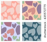 set of seamless vector patterns ... | Shutterstock .eps vector #635572775