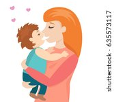 red head mother gently holding... | Shutterstock .eps vector #635573117