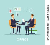 business deal. flat vector... | Shutterstock .eps vector #635573381