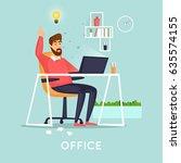 idea came. flat vector... | Shutterstock .eps vector #635574155