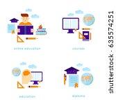 on line education. flat vector... | Shutterstock .eps vector #635574251