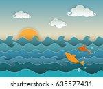 jumping golden fish in the deep ... | Shutterstock .eps vector #635577431