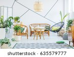 white living room with round... | Shutterstock . vector #635579777