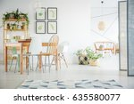 white room with communal table  ... | Shutterstock . vector #635580077