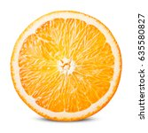 orange fruit. round slice... | Shutterstock . vector #635580827