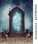 fantasy magic mirror with... | Shutterstock . vector #635580965