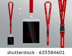 set of lanyard and badge. metal ... | Shutterstock .eps vector #635584601