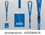 set of lanyard and badge. metal ... | Shutterstock .eps vector #635584619