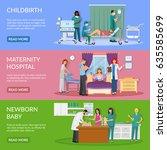 maternity hospital horizontal... | Shutterstock .eps vector #635585699
