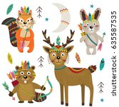 set of isolated tribal animals... | Shutterstock .eps vector #635587535