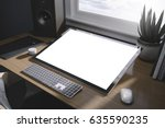 workspace mockup with computer | Shutterstock . vector #635590235