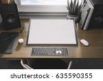 workspace mockup with computer | Shutterstock . vector #635590355