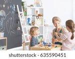 preschool children in... | Shutterstock . vector #635590451