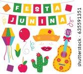 festa junina vector design... | Shutterstock .eps vector #635591351