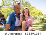 happy father and daughter... | Shutterstock . vector #635591354
