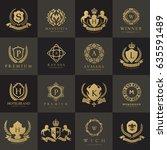 luxury logo set. brand identity ... | Shutterstock .eps vector #635591489