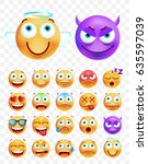set of cute emoticons on white...