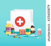 shopping bag with medical pills ... | Shutterstock .eps vector #635600879