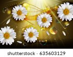abstract chamomile flowers... | Shutterstock . vector #635603129