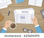 businessman reading daily news... | Shutterstock .eps vector #635604395