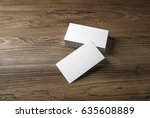 empty blank business cards on... | Shutterstock . vector #635608889