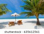 perfect beach view. summer... | Shutterstock . vector #635612561