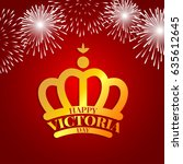 golden crown with fireworks for ... | Shutterstock .eps vector #635612645