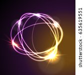 glowing neon abstract circles... | Shutterstock .eps vector #635619551