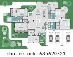 floor plan of a house. modern... | Shutterstock .eps vector #635620721