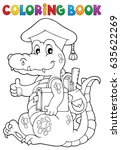 coloring book school theme... | Shutterstock .eps vector #635622269
