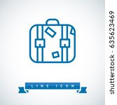 suitcase travel line vector icon | Shutterstock .eps vector #635623469