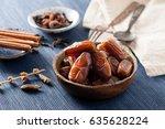closeup sweet dried date palm... | Shutterstock . vector #635628224