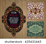 vector vintage items  label art ... | Shutterstock .eps vector #635631665