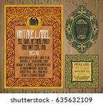 vector vintage items  label art ... | Shutterstock .eps vector #635632109