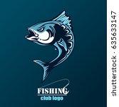 angry tuna fish logo. tuna... | Shutterstock .eps vector #635633147