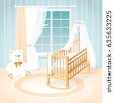 children's room with a window ... | Shutterstock .eps vector #635633225