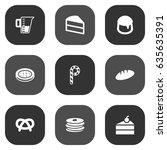 set of 9 bakery icons set... | Shutterstock .eps vector #635635391