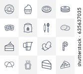 set of 16  outline icons set... | Shutterstock .eps vector #635637035