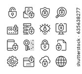 internet security line icons... | Shutterstock .eps vector #635638277