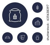 set of 6 cook outline icons set.... | Shutterstock .eps vector #635638397
