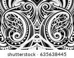 maori style ethnic ornament.... | Shutterstock .eps vector #635638445