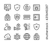 computer security line icons... | Shutterstock .eps vector #635640287