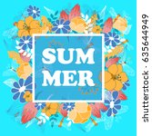 summer poster  banner  flyer.... | Shutterstock .eps vector #635644949