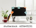 stylish workspace with computer ... | Shutterstock . vector #635645231