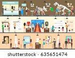 museum interior set. people... | Shutterstock .eps vector #635651474