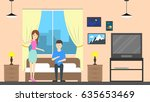hostel room service with host.... | Shutterstock .eps vector #635653469