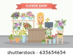 flower shop saleswoman. pots... | Shutterstock .eps vector #635654654