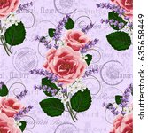seamless floral pattern with... | Shutterstock .eps vector #635658449